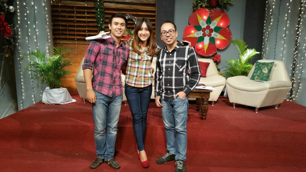 Marty Go, right, with The Morning Show hosts, Dani Dingcong, middle, and Kurt Soberano, left. | Photo from Marty Go personal collection used with permission