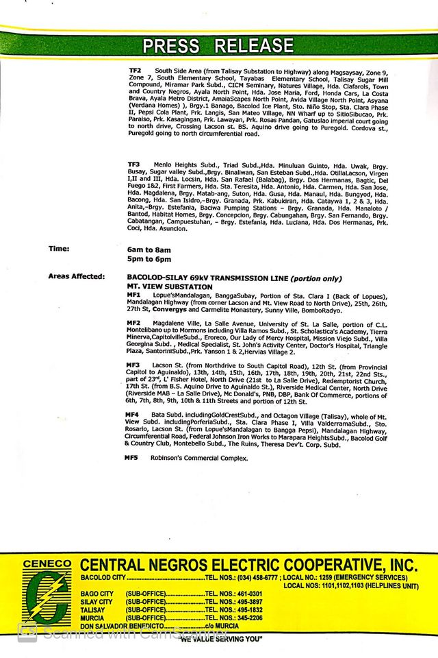 Page 2 copy of CENECO press release for power interruption on October 10, 2020. | Photo from CENECO website.