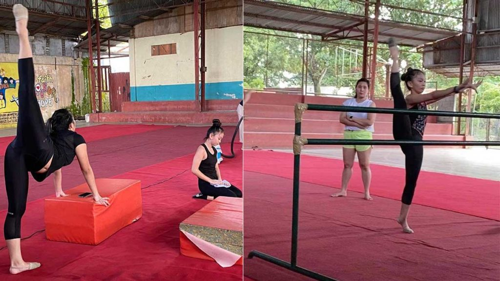 With Coach Kris Joy Leeping. The multi-awarded gymnasts train for hours, with all the hard work eventually paying off. | Photos from Tommy Celis
