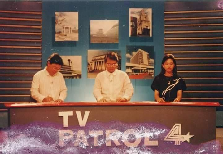 Nick Lizares, left, with pioneer hosts of TV Patrol 4. | Photo courtesy of Harold Limbo used with permission