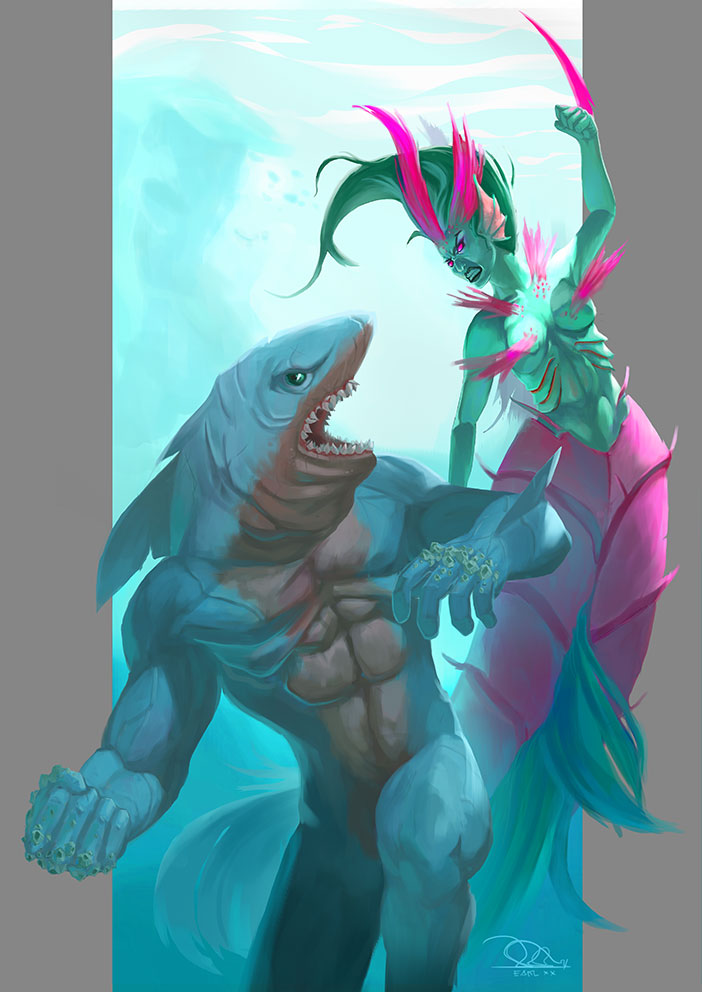 Depiction of the battle/fight between my Original Characters, Betta Splendens, the champion of the Bettas and Leucas the invader. | Photo by Earl Genesis Sagayno