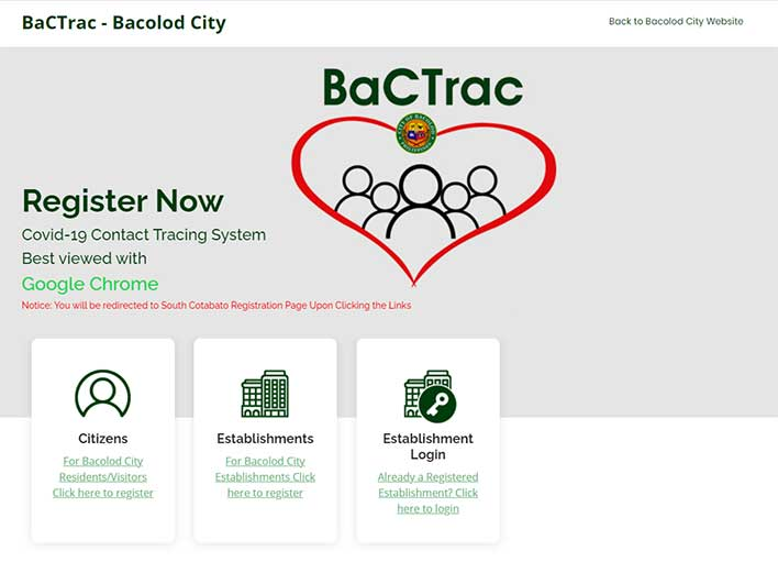 bacolod bactrac website by bacolod city government