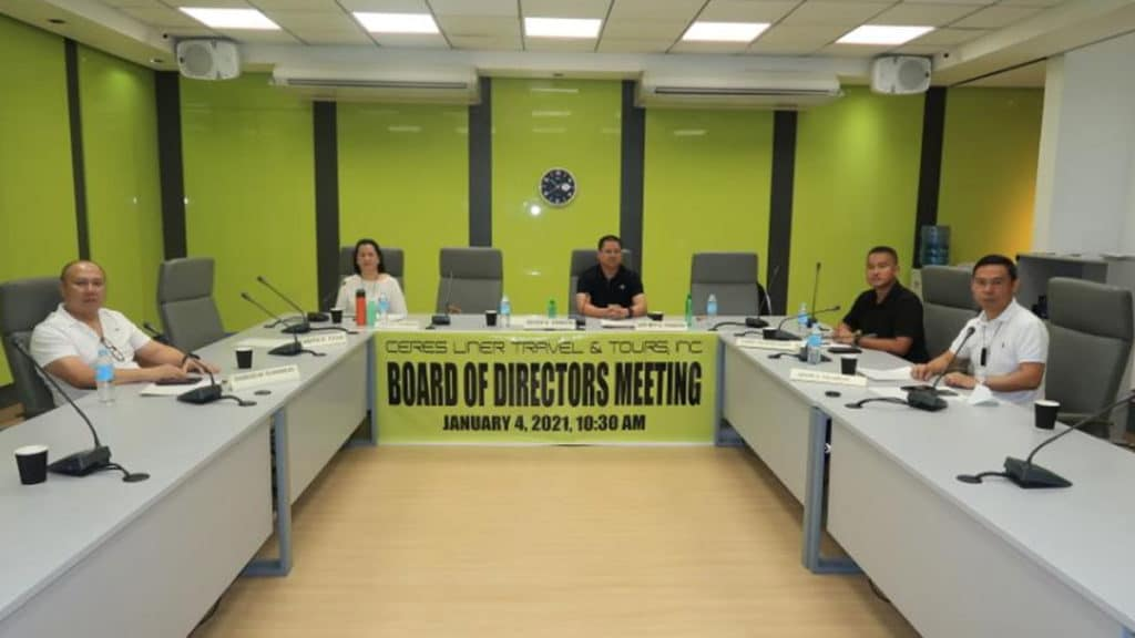 Leo Rey Yanson, second from right, chairs the CLTTI board meeting. | Photo courtesy of VTI