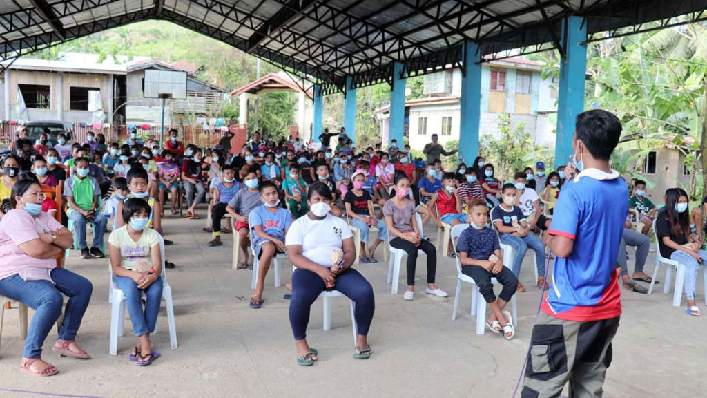 """""""Ka Joross,"""" a former rebel shares his experiences in the rebel underground to residents of Sagay City and Toboso town. 