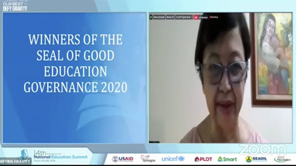 A screenshot of Synergeia Foundation CEO Milwida Guevara at the awarding of the Seal of Good Education Governance.