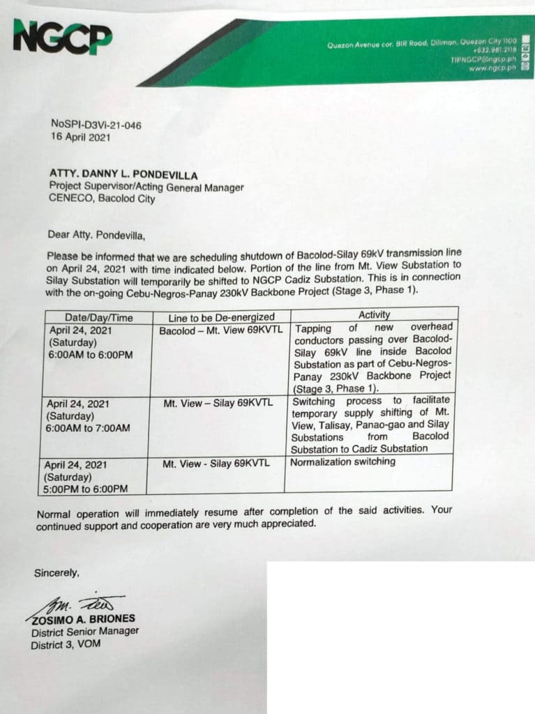 NGCP letter