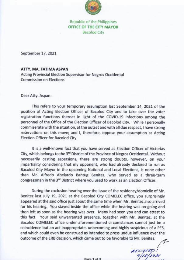 First page of the letter sent to Atty. Ma. Fatima Aspan from Bacolod City Mayor Evelio R. Leonardia.   Photo from Bacolod City PIO Facebook page.